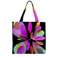 Pink Abstract Flower Zipper Grocery Tote Bag by Valentinaart