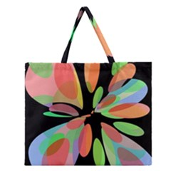 Colorful Abstract Flower Zipper Large Tote Bag by Valentinaart