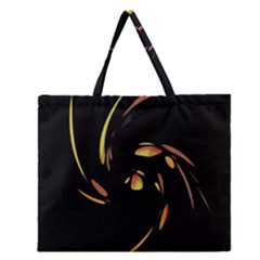 Orange Twist Zipper Large Tote Bag by Valentinaart
