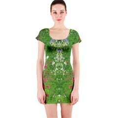 Floral Nature Short Sleeve Bodycon Dress by olgart