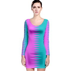 Contrast Color Long Sleeve Bodycon Dress by olgart
