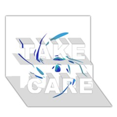 Blue twist TAKE CARE 3D Greeting Card (7x5)  by Valentinaart