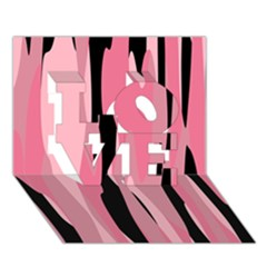 Black and pink camo abstract LOVE 3D Greeting Card (7x5)  by TRENDYcouture