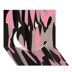 Pink And Black Camouflage Abstract 2 Heart 3d Greeting Card (7x5)
