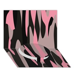 Pink And Black Camouflage Abstract 2 Circle Bottom 3d Greeting Card (7x5)