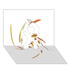 Orange Twist Ribbon 3d Greeting Card (7x5)