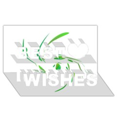 Green Twist Best Wish 3d Greeting Card (8x4)