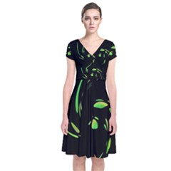 Green Twist Short Sleeve Front Wrap Dress by Valentinaart