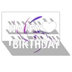 Purple Twist Happy Birthday 3d Greeting Card (8x4)