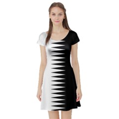 Black And White  Short Sleeve Skater Dress by olgart