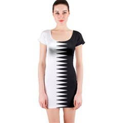 Black And White  Short Sleeve Bodycon Dress by olgart