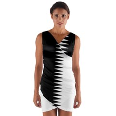 Black and white  Wrap Front Bodycon Dress by olgart
