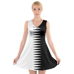 Black And White  V Neck Sleeveless Skater Dress by olgart