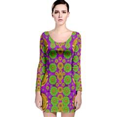 Fantasy Sunroses In The Sun Long Sleeve Velvet Bodycon Dress by pepitasart