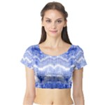 Tie Dye Indigo Short Sleeve Crop Top (Tight Fit)