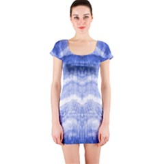 Tie Dye Indigo Short Sleeve Bodycon Dress by olgart