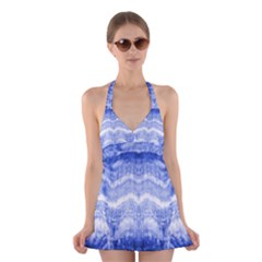 Tie Dye Indigo Halter Swimsuit Dress by olgart