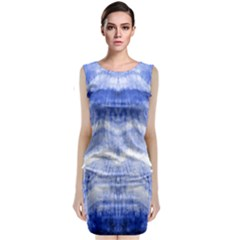 Tie Dye Indigo Classic Sleeveless Midi Dress by olgart