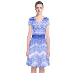 Tie Dye Indigo Short Sleeve Front Wrap Dress by olgart