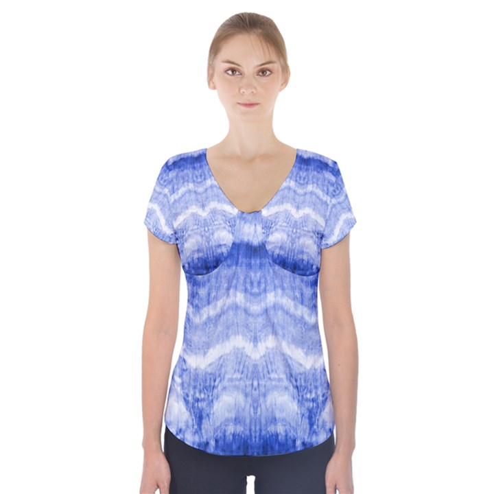 Tie Dye Indigo Short Sleeve Front Detail Top