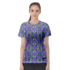 Pretty Purple Flowers Pattern Women s Sport Mesh Tee by BrightVibesDesign