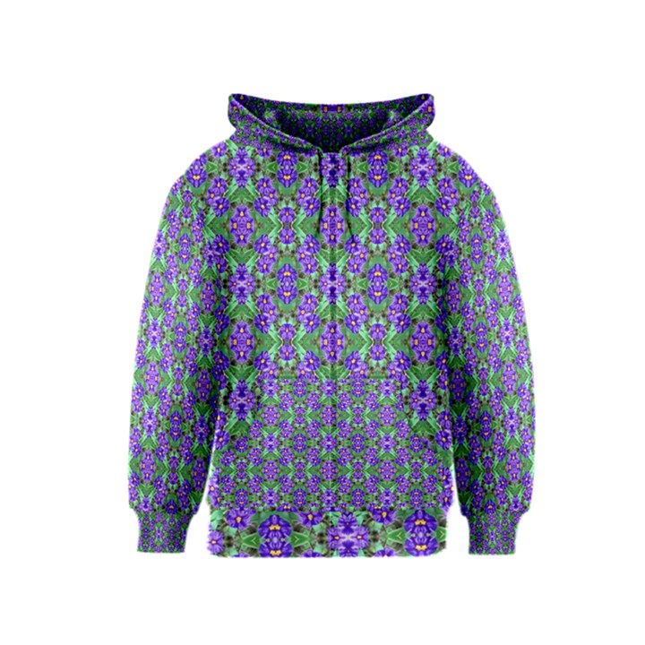 Pretty Purple Flowers Pattern Kids  Zipper Hoodie