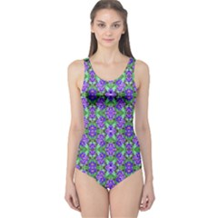 Pretty Purple Flowers Pattern One Piece Swimsuit