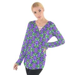 Pretty Purple Flowers Pattern Women s Tie Up Tee by BrightVibesDesign