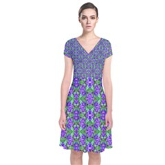 Pretty Purple Flowers Pattern Short Sleeve Front Wrap Dress by BrightVibesDesign