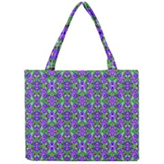 Pretty Purple Flowers Pattern Mini Tote Bag by BrightVibesDesign