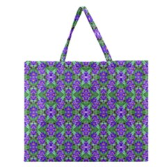 Pretty Purple Flowers Pattern Zipper Large Tote Bag by BrightVibesDesign