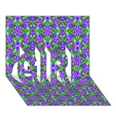 Pretty Purple Flowers Pattern Girl 3d Greeting Card (7x5)