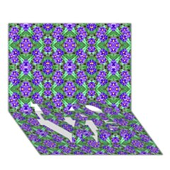 Pretty Purple Flowers Pattern LOVE Bottom 3D Greeting Card (7x5)  by BrightVibesDesign
