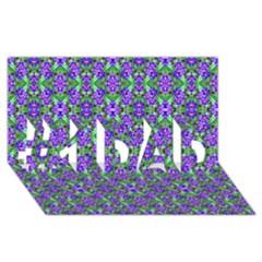 Pretty Purple Flowers Pattern #1 Dad 3d Greeting Card (8x4)