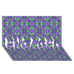 Pretty Purple Flowers Pattern Engaged 3d Greeting Card (8x4)