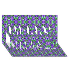 Pretty Purple Flowers Pattern Merry Xmas 3d Greeting Card (8x4)