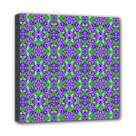 Pretty Purple Flowers Pattern Mini Canvas 8  X 8  by BrightVibesDesign