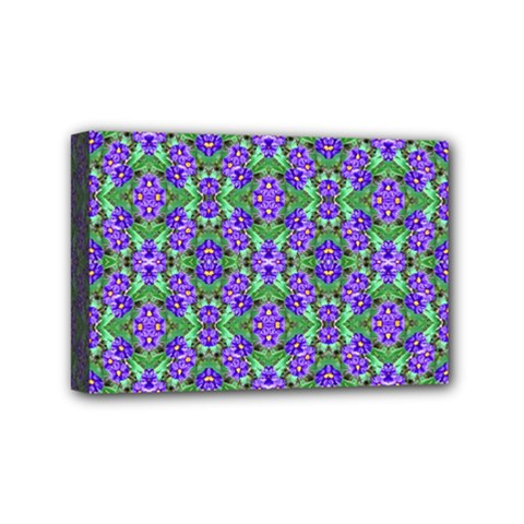 Pretty Purple Flowers Pattern Mini Canvas 6  X 4  by BrightVibesDesign