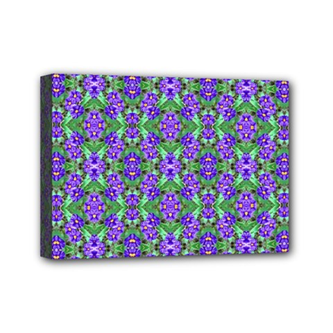 Pretty Purple Flowers Pattern Mini Canvas 7  X 5  by BrightVibesDesign