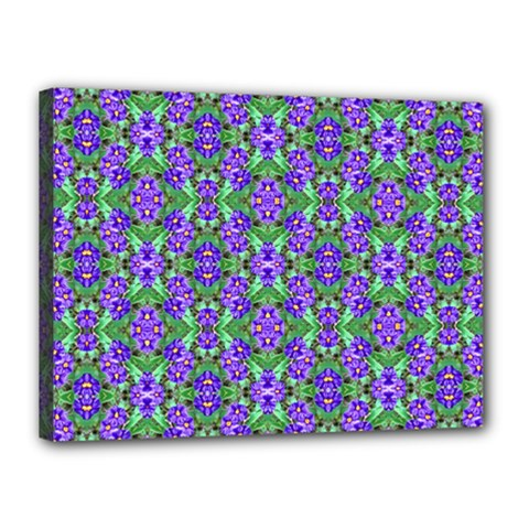 Pretty Purple Flowers Pattern Canvas 16  X 12  by BrightVibesDesign
