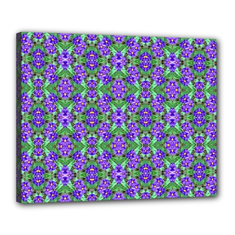 Pretty Purple Flowers Pattern Canvas 20  x 16  by BrightVibesDesign