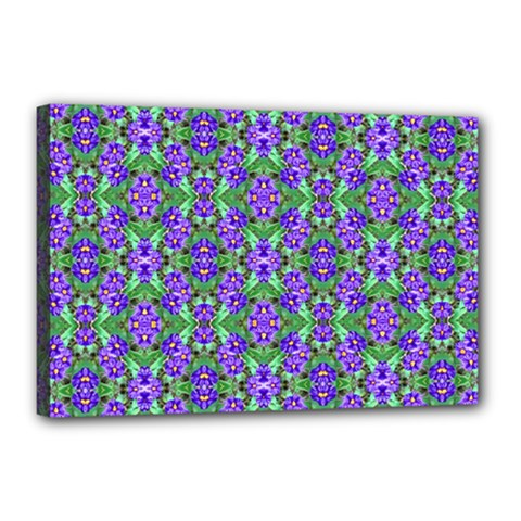 Pretty Purple Flowers Pattern Canvas 18  x 12  by BrightVibesDesign
