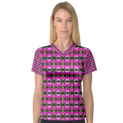 Pretty Pink Flower Pattern Women s V Neck Sport Mesh Tee by BrightVibesDesign