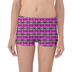 Pretty Pink Flower Pattern Boyleg Bikini Bottoms by BrightVibesDesign