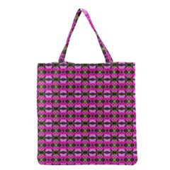 Pretty Pink Flower Pattern Grocery Tote Bag by BrightVibesDesign