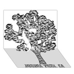 Jt Zebra Stipes 11 X 17 Ribbon 3d Greeting Card (7x5)  by WickedCool