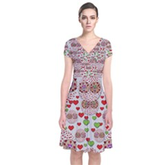 Love Bunnies In Peace And Popart Short Sleeve Front Wrap Dress by pepitasart