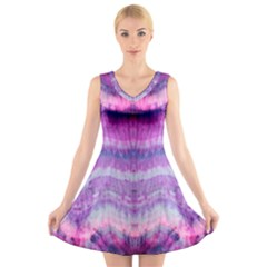 Tie Dye Color V Neck Sleeveless Skater Dress by olgart