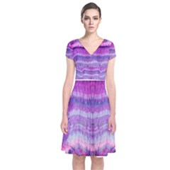 Tie Dye Color Short Sleeve Front Wrap Dress by olgart