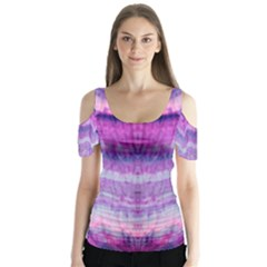 Tie Dye Color Butterfly Sleeve Cutout Tee  by olgart